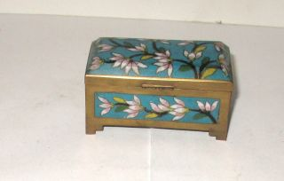 Chinese Cloisonne Blue Enamel Floral Stamp Jar Box photo