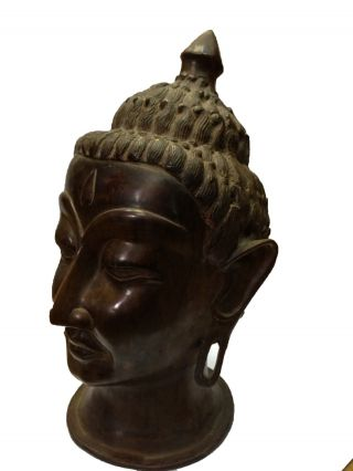 Vintage Old Brass Fine Buddha Budh With Carving Gh - 440 India photo