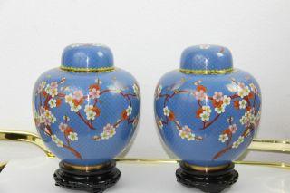 Vintage Large Chinese Cloisonne Ginger Jars/ Urns 9 1/2