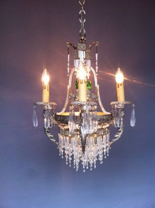 Vintage Antique Crystal 19th Century Chandelier Nouveau Old Lamp Brass Lu