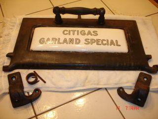 Antique Vintage Gas Stove Cast Iron Porcelain Oven Door Citigas Garland Special photo