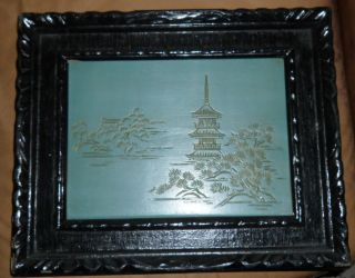 (2) Two Hand Carved Wooden Picture Asian Art Antique Japan Mt.  Fuji Pines Jade photo
