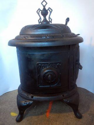 Rare Ornate Opal Fireside Antique Cast Iron Wood Burn ' N Stove Portland Stove Wks photo