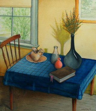 Lerner Still Life On Blue Table Watercolor Vintage 1990 Signed Masters photo