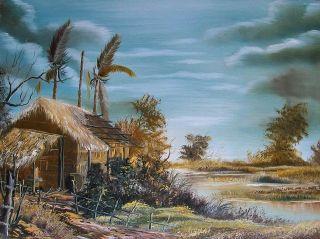 Barns Landscape Rural Scene Signed Oil Painting Farm Art And Lake photo