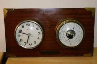 Vintage Mounted Mahogany Mariner Ships Clock Brom & Barometer Italian