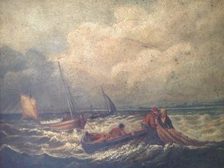 Fine Antique Irish 19thc Marine Oil Painting,  Bringing In The Nets photo