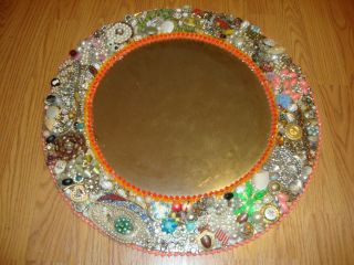 Vtg Folk Art Mirror Costume Jewelry Rhinestones,  Enamel,  Pins,  Necklaces,  Charms photo