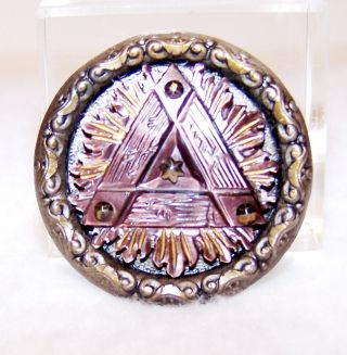 """Vintage Metal Mother Of Pearl Button W/triangle,  Steel Cut Sets& Painted 1&7/16"""" photo"""