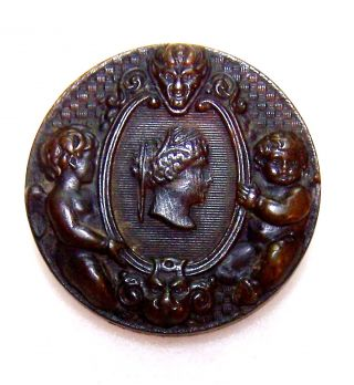 "Victorian Lady Head Cameo Horn Button W/angel Cherub Devil & Man Face 1&1/16"" photo"