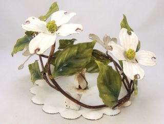 Vintage Tole Dogwood Flower Candle Holder photo