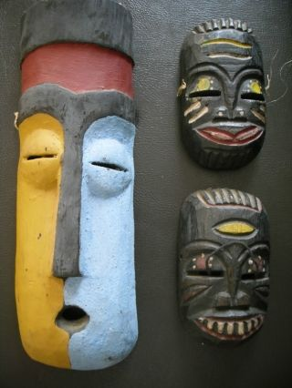 3 Rare Antique African Tribal Hand Carved Hand Painted Masks photo