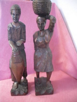 Pair Of Antique Hand Carved African Figures Drum Player And Food Carrier Rare photo