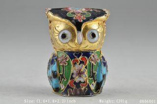 oriental Cloisonne Old Handwork Painting Owl Flower Statue Decor photo