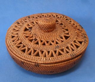 Vintage Hand Woven,  Coiled,  Fiber Basket With Lid ' Tribal ' With Pierced Zig Zag photo