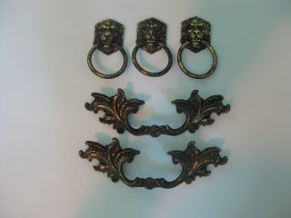5 Antique Look French Provincial And Lion Head Brass Drawer Pull Handle Set photo