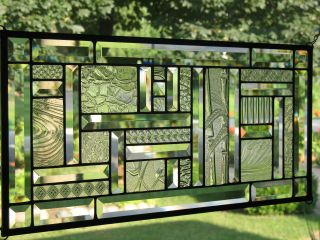 :: Study In Clears :: Large Stained Glass Window Panel Nr photo