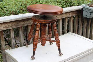 Vintage Chas Parker Eagle Claw Glass Ball Oak Adjustable Swivel Piano Stool Euc photo