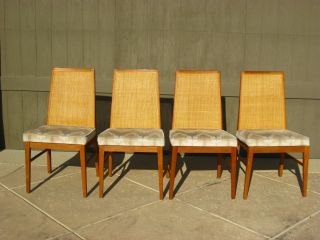 Four Vintage Danish Modern Teakwood Cane Dinning Room Chairs Mid - Century photo