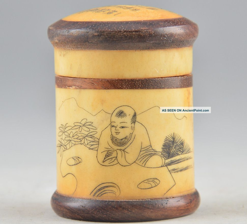 Chinese Natural Bone Old Handwork Carving poetry& boy Play Cricket Pot☆☆☆☆☆ Boxes photo