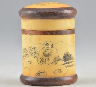 Chinese Natural Bone Old Handwork Carving poetry& boy Play Cricket Pot☆☆☆☆☆ photo
