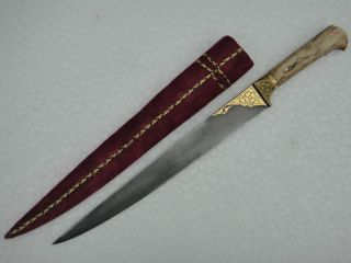 A 19 - 20th C Kard With Gold Damascened Work With Fine Wootz Steel. photo