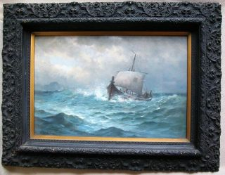 Signed Antique Oil Of Boat At Sea By Listed Artist Nels Hagerup (22