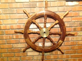 3 ' Wooden Boat Ship Steering Wheel photo