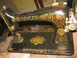 Antique Dated 1903 Singer 66 - 1 Red Eye Treadle Sewing Machine G613049 Good photo