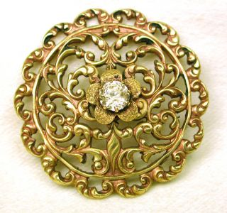 Antique Brass Button Pierced Floral Filigree W/ Paste Center photo