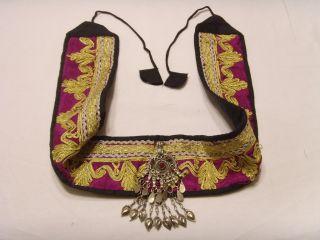 Vintage Kuchi Tribal Metallic Embroidered Large Pendant Belt Bellydance Fv351 photo