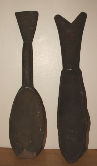 Old & Rare Dan People Pair Of Carved Wood Spoons photo