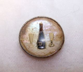 """Vntg Reverse Painted Button Bottle And Glasses Iridescent Background Dome Top ½"""" photo"""