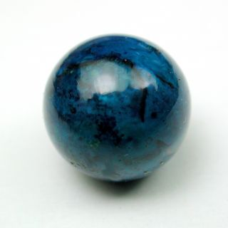 Antique Glass Ball Button Pretty Blue Colored Swirl Design photo
