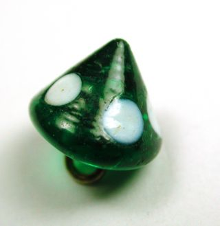 Antique Charmstring Glass Button Green Cone W/ White Dots Swirl Back photo