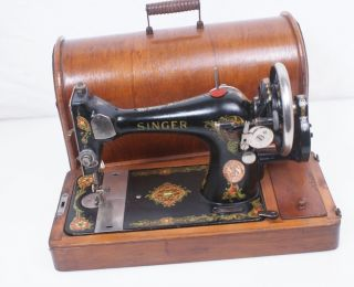 1919 Singer Beauty 128 (k) Hand Crank Sewing Machine W\case 27 127 128 photo