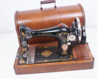 1919 Singer Beauty 128 (k) Hand Crank Sewing Machine W\case 27 127 128 photo