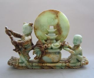 Very Old Antique Chinese Hetian Jade Carved Fortune To Doll (财运到)2522g photo