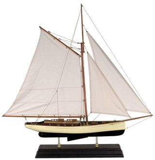 Nautical Decorative 1930s Classic Yacht Wooden Model Sailboat Authentic Models photo