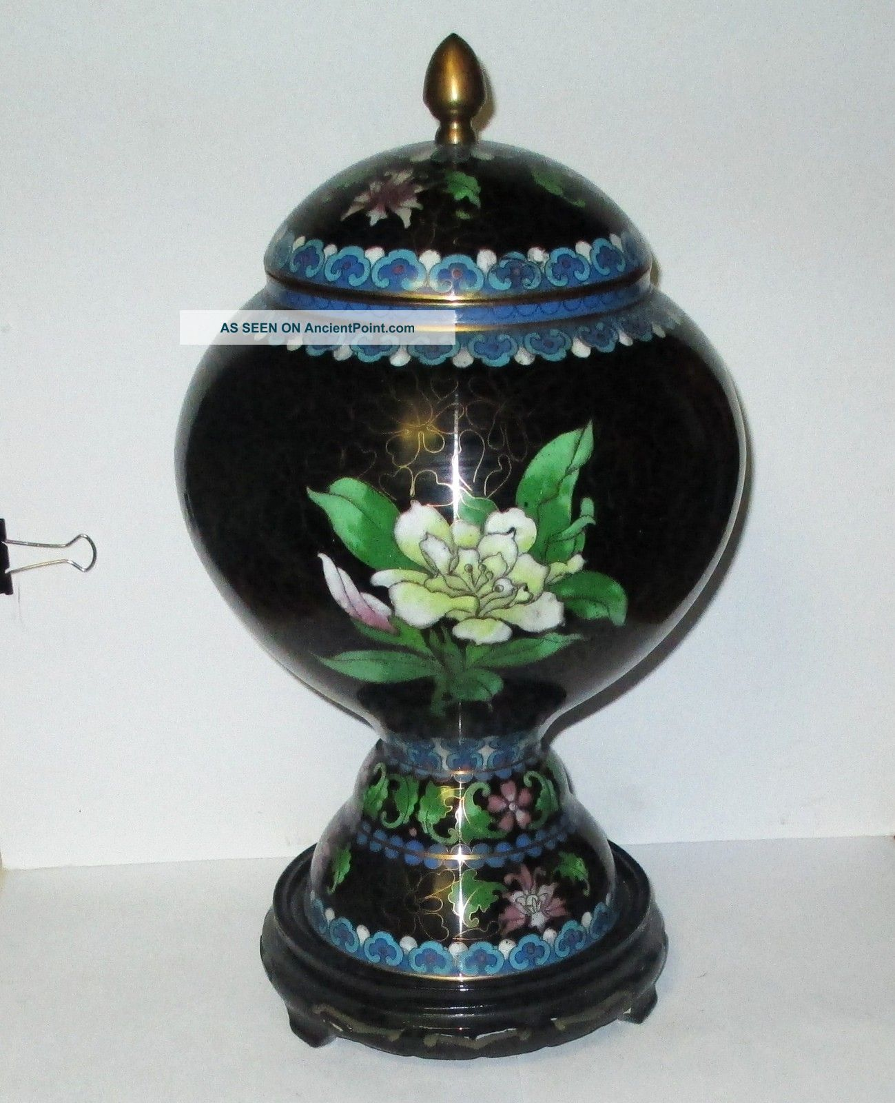 Huge Chinese Cloisonne Enamel Floral Bird Compote Lided Vase Jar Box With Stand Boxes photo