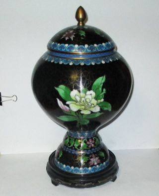 Huge Chinese Cloisonne Enamel Floral Bird Compote Lided Vase Jar Box With Stand photo