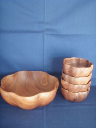 Bowl Large Wood Flared Set 5,  Hand Crafted Acaciaware photo