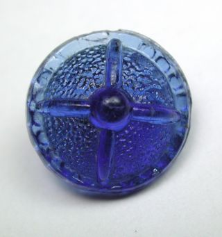 Antique Charmstring Glass Button Cobalt Blue Candy Mold Pebble Back photo