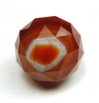 Antique Lapidary Button Faceted Ball Shape Orange Cream & White Colors photo