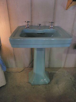 Vintage Kohler Pedistal Sink Seafoam Green photo