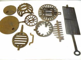 Large Antique Cast Iron Woodstove Grates Burners Collars Parts Lids Hardware photo