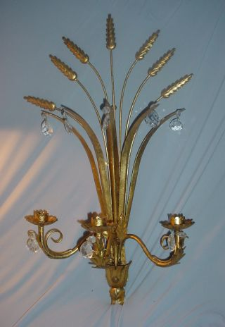 Vintage Italian Gilt Toleware Wheat & Prisms Wall Candle Holder photo
