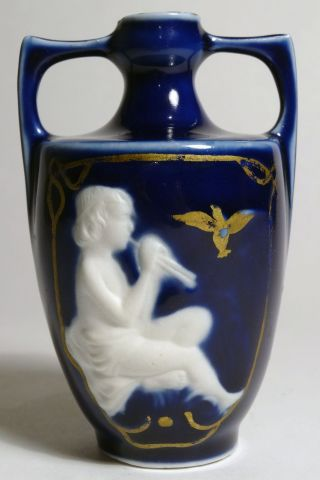 Antique Victorian 19th C Continental Porcelain Cameo Bud Vase - Child Plays Pipes photo