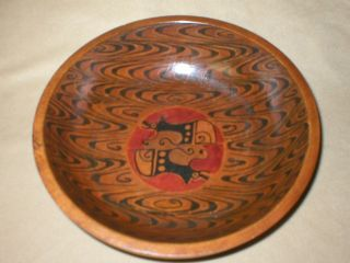 Vintage Hand Made & Painted Wooden Bowl With Native American Decorations photo