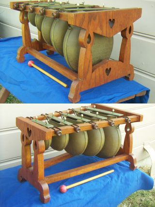 Antique Arts & Crafts Xylophone Bells 1881 - 1901 Birmingham Vintage Gongs Chimes photo